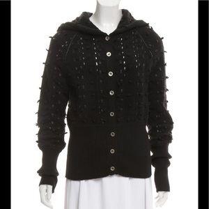 CHRISTIAN DIOR Black Leather-Trimmed Wool Cardigan